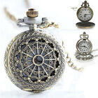 Classic Men Bronze Tone Spider Web Design Necklace Pendant Fob Pocket Watch Gift image