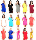 Women's Ladies Plain Baggy Oversize Turn Up Sleeve Long Dress T-Shirt Top 8-22
