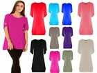 Ladies Short Turn Up Sleeves Button Flared Womens Plus Size Swing Dress Long Top