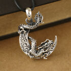 Sterling Silver Dragon Wound Around Moon Biker Men Charm Pendant A2055