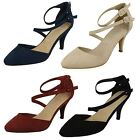 Ladies Spot On Mid Heel Strappy Court Shoes - F9657