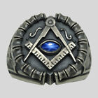 Masonic All Seeing Eye Ring Sterling Silver Sapphire Handmade Freemason UNIQABLE for sale