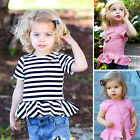 Baby Newborn Girl's Summer Casual Clothes Ruffled Striped Tops T-Shirt Shirts