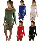 Sexy Women Hollow Out Off Shoulder Holes Bandage Pencil Dress Party Club Wear
