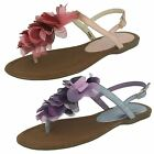 Spot On Ladies Flat Toe Post Sandal with Flower Detail