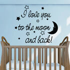 TO THE MOON AND BACK wall quote for kids bedroom playroom vinyl decals