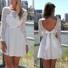 European Style Sexy Women Lace Long Sleeve Backless Bowknot Mini Party Dress