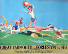 great yarmouth UK Vintage painting Travel Poster Print Glass Frame 90cm