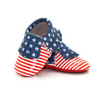 Unique Baby High Quality Patriotic American Flag Leather Baby Moccasins Outfit