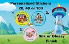 Personalised Paw Patrol 37mm Birthday Party Thanks Stickers Labels Silk/Glossy