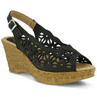 New Spring Step Women's Black Abigail-Bn Strap Sandals