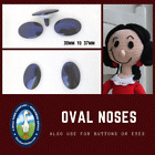 12 Pc. 30mm or 36mm Flat Black Plastic Safety Eyes, Nose, Button, No Pupil ON-1