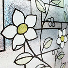 3D Embossed Textured Static Window Film Frosted Glass PVC Blue Tinted Flower