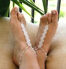 Shimmery Clear Crystal Barefoot Sandals ~ Beach Wedding Summer Jewelry Handmade