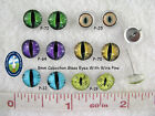 1 Pair Glass Cabochon Eyes On Wire Pins For Dragon, Jewelry, Sculpture,  CAB-1