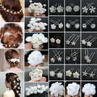 20/40PCS Wholesale Lot Wedding Bridal Pearl Flower Crystal Hair Bobby Pins Clips