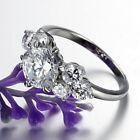 Silver 8mm Round Cut Moissanite Wedding Surgical Stainless Steel Ring Size J-S