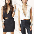 New Women's Deep V Front and Open Back Crop Top Shirt Cami Tank Tee Vest