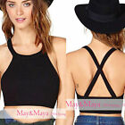 Wildbirds Women Girl Black Cross Back Round Neckline Crop Top Tank Tee Shirt