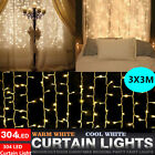 304LED Indoor/Outdoor Christmas String Fairy Wedding Curtain Lights Waterfall US