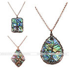 Tree of Life Copper Wire Wrap Abalone Shell Pendant Fit Chain Necklace DIY Gift