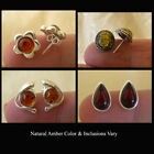 BALTIC HONEY or CHERRY AMBER & STERLING SILVER MODERN STYLE STUD EARRINGS