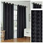 Ready Made Black Curtains Zig Zag Effect Design Ring Top Eyelet Lined Sizes Pair