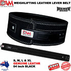 GENUINE LEATHER HEAVY DUTY GYM BAR LEVER BELT BODYBUILDING WEIGHTLIFTING BELT
