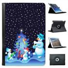 Snowman Family Decorating Xmas Tree Folio Leather Case For iPad Mini & Retina