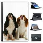2 Cavalier King Charles Spaniels Folio Leather Case For iPad Mini & Retina