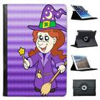 Smiling Witch Wearing Hat With Wand & Broom Leather Case For iPad Mini & Retina