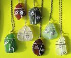 """Handmade Wire Wrapped Pure Sea Beach Glass Pendants 18"""" Silver Filled Chain V1"""