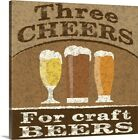 Cheers and Beers Canvas Wall Art Print, Beer Home Decor