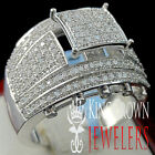 WOMENS LADIES WHITE GOLD ON STERLING SILVER LAB DIAMOND BRIDAL WEDDING RING BAND