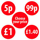 30mm Shop Price Labels Stickers Red Various Quantities Available £4.09-£5.39