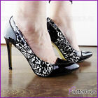 Womens Black and White Leopard Print Patent Two tone Shoes Stilettos Pointed Toe
