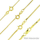 14K Gold over 925 Sterling Silver Box Chain Necklace All Sizes image