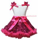 Plain Valentine White Cotton Top Hot Pink Bling Sequins Skirt Clothing Set 1-8Y