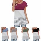 Women Back Lace Tops Block Short Sleeve Casual Beauty T-shirt Tunics Blouse New