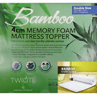 Quality Bamboo 4CM Memory Foam Mattress Topper Size Available Single Double King