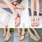 Women Bohemia Buckle Flat Shoes Sandals Beach Owl Thong Slippers Flip Flops