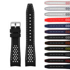 StrapsCo Rubber Perforated Rally Racing Watch Band Silicone Strap w/ Curved Ends image