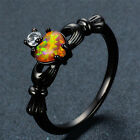Classic Claddagh Orange Opal Heart Black Gold Ring Anniversary Wedding Size 6-10