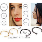 Chic Surgical Steel Slim Mini Nose Lip Ring Hoops 0.8mm Cartilage Piercing Studs