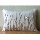"""Jute And Mother Of Pearls 12""""x18"""" Art Silk Ivory Lumbar Pillow Cover - Amour"""