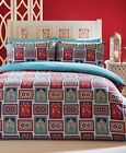 Red Teal Navy Tile Effect Ethnic Indian Style Duvet Cover Set Pillowcases