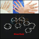 6pcs / Set Gold Urban Rings Crystal Above Knuckle stacking Band Party Midi Ring