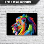 Lion Abstract Pop-Art Wall Art Print - A3 A4 Poster Prints - Animal Picture