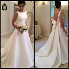 White Backless Satin Formal Evening Ball Prom Dress Wedding Party Pageant Dress