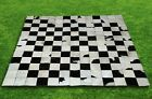 New Large Cowhide Rug Patchwork Cowskin Cow Hide Leather Carpet. White-Black.